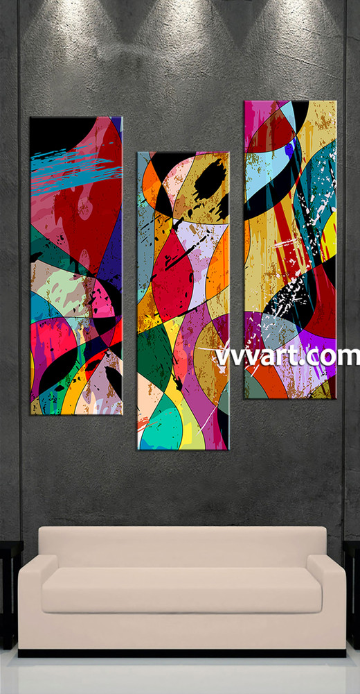 3 Pieces Wall Decor For Living Room: 3 Piece Colorful Home Decor Abstract Wall Art