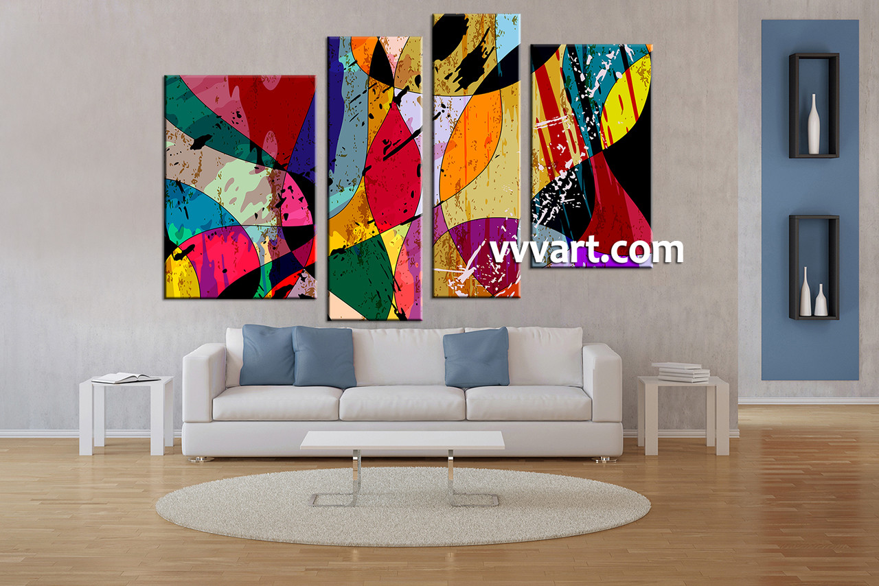 Living room art 4 piece canvas wall art oil paintings wall art abstract
