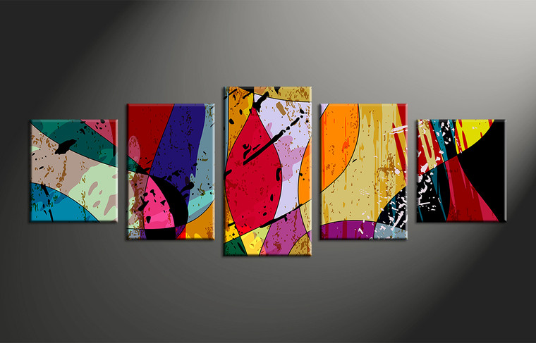 5 Piece Canvas Colorful Painting Home Decor Abstract Multi Panel Art