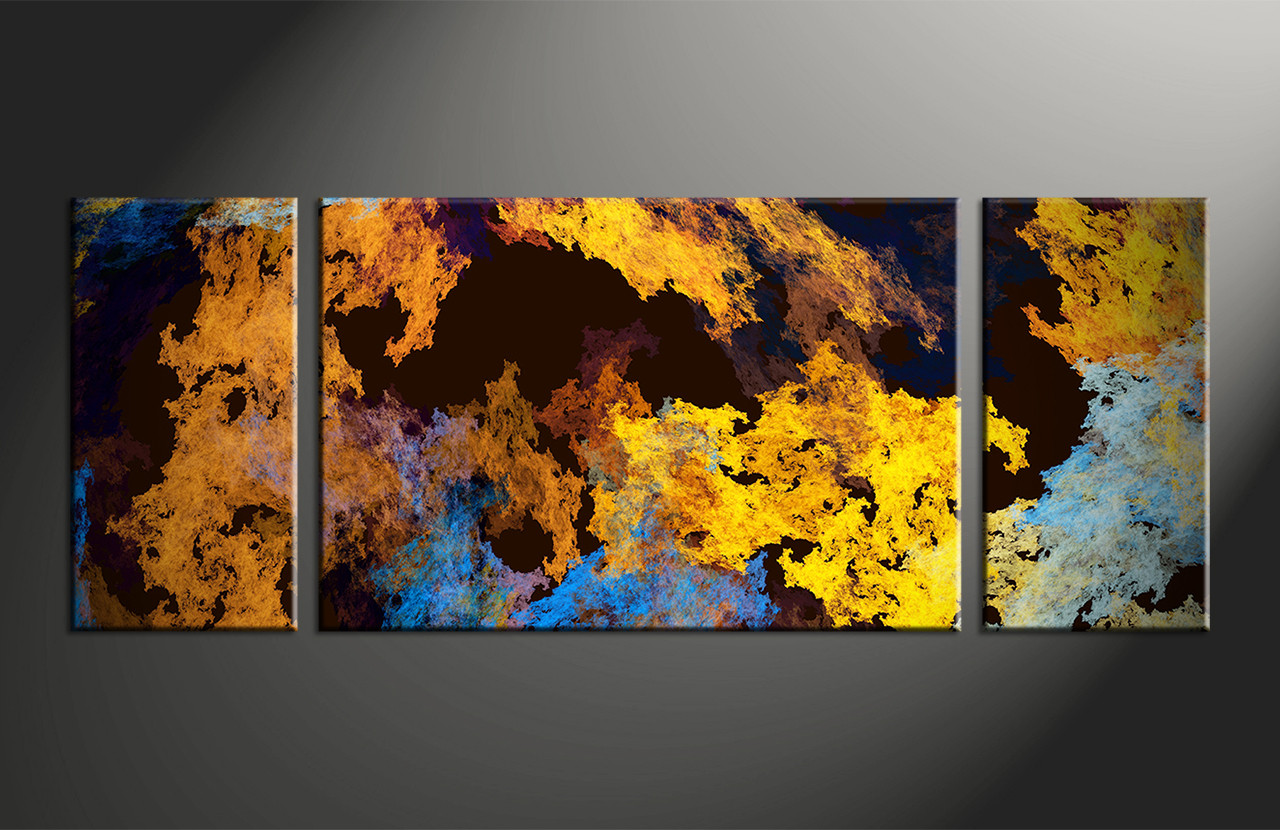 3pieces Modern Abstract Huge Wall Art Oil Painting On: 3 Piece Canvas Yellow Abstract Huge Pictures