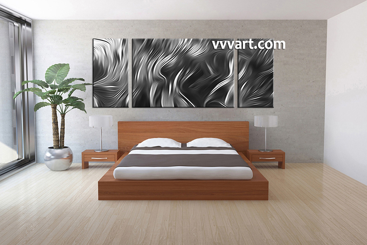 Large Silver Wall Decor: 3 Piece Canvas Abstract Grey Artwork