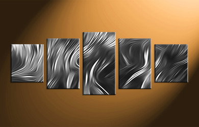 Home Decor, 5 piece canvas wall art, black and white art, abstract large canvas, abstract multi panel art