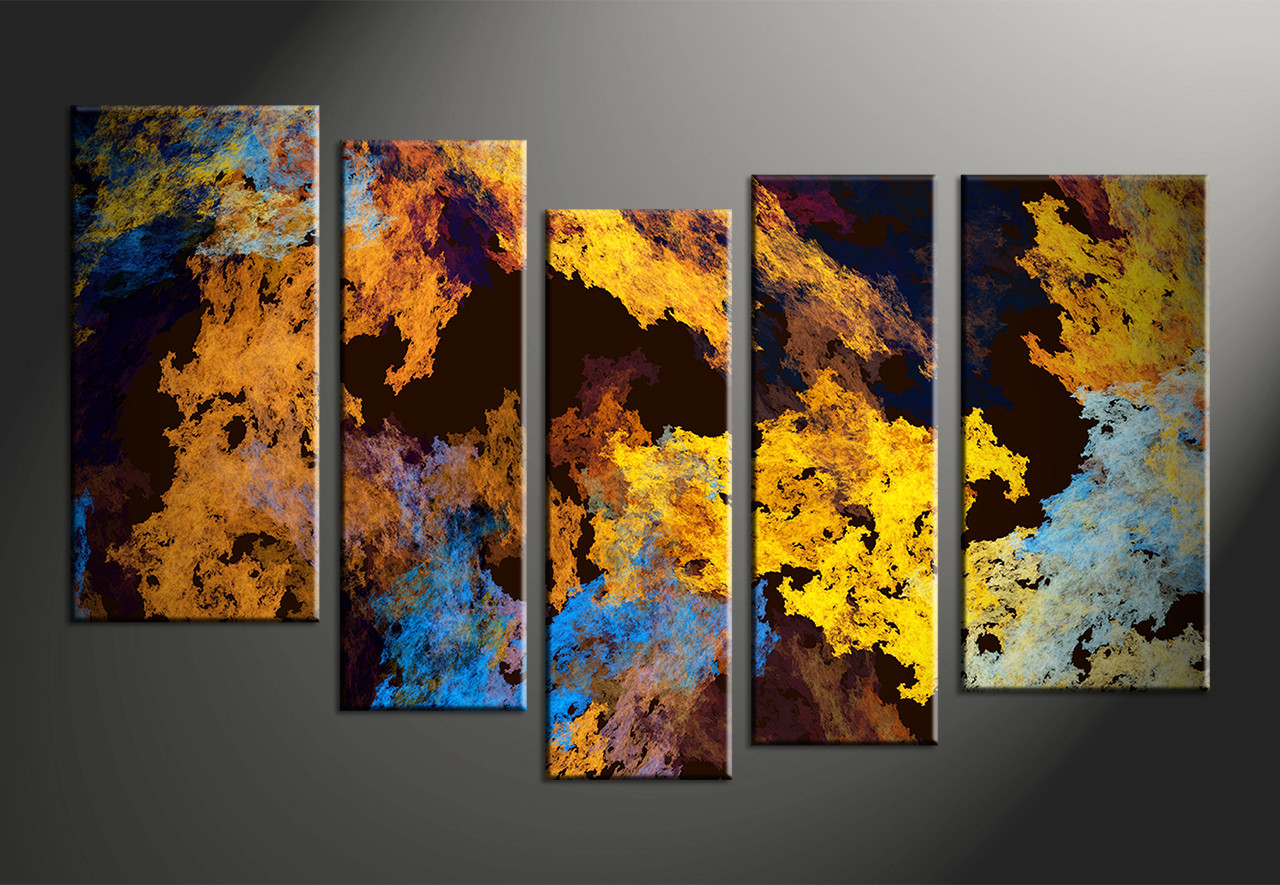 5 Piece Canvas Yellow Abstract Multi Panel Canvas
