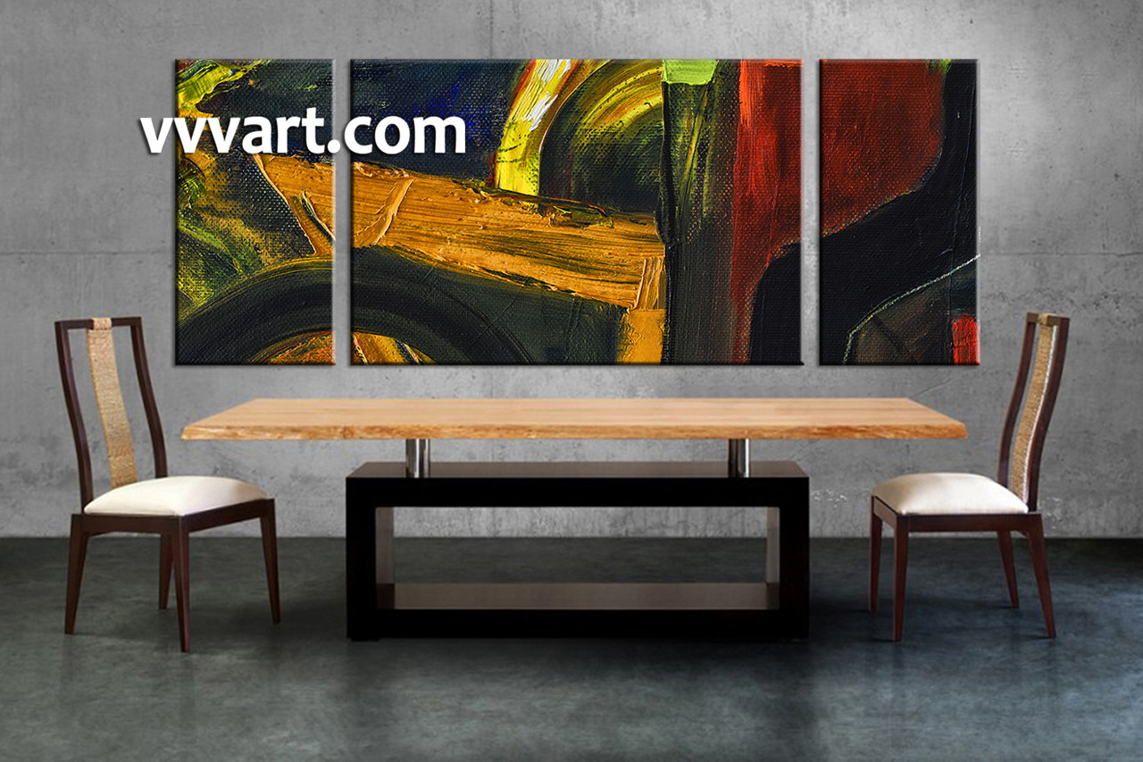 Dining room art 3 piece canvas wall art oil paintings large pictures abstract