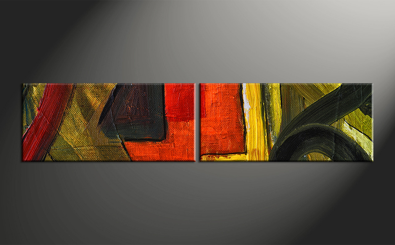 2 Piece Colorful Oil Painting Home Decor Abstract Wall Art