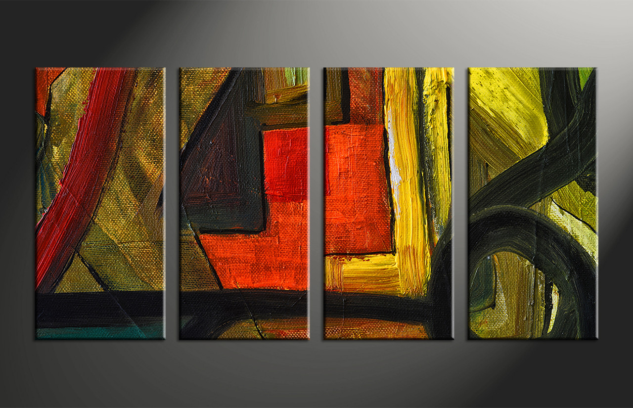 4 Piece Canvas Abstract Colorful Oil Painting Decor Abstract Wall Art Large Abstract Art