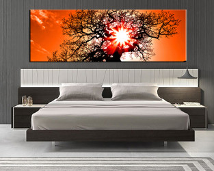 1 piece canvas wall art, bedroom huge pictures, orange scenery art, sunset scenery multi panel canvas