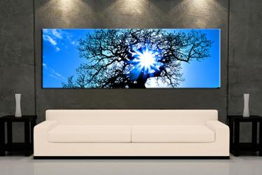 1 piece multi panel art, living room artwork, blue scenery wall art, scenery wall decor