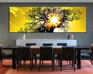 1 piece large canvas, dining room art, yellow scenery wall decor, sunset canvas photography, scenery art