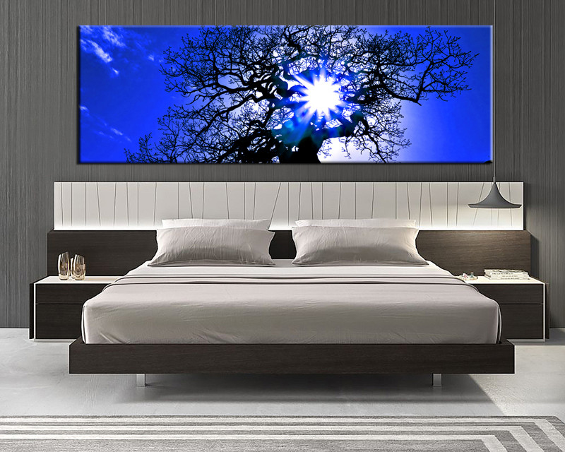 1 Piece Blue Canvas Scenery Wall Art Panoramic Canvas Prints
