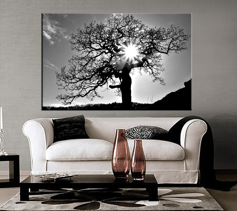 8752ff65490 1 Piece Black and White Scenery Huge Canvas Art