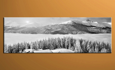 1 piece large canvas, home decor multi panel art, landscape group canvas, black and white wall art