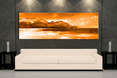 1 piece large pictures, living room multi panel art, orange mountain multi panel canvas, ocean artwork