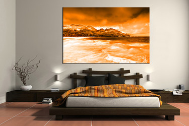 1 piece photo canvas, bedroom canvas wall art, orange ocean canvas photography, mountain canvas print