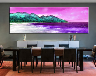1 piece large pictures, dining room wall decor, ocean group canvas, ocean purple artwork, mountain art