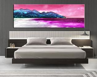 bedroom wall art, 1 piece multi panel art, ocean wall art, ocean red artwork, mountain artwork