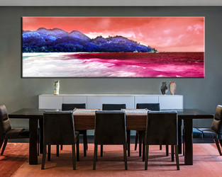 1 piece multi panel canvas, dining room canvas photography, mountain wall art, brown ocean artwork
