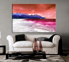 living room art, 1 piece canvas wall art, mountain decor, ocean artwork, beach large canvas