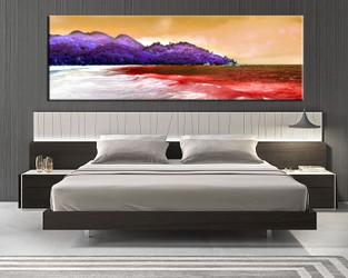 1 piece canvas wall art, bedroom ocean artwork, orange ocean pictures, ocean canvas print, mountain artwork