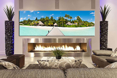 1 piece canvas wall art, living room canvas photography, mountain large pictures, beach artwork, Green ocean art