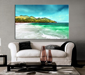 1 piece wall art, living room decor, mountain large pictures, beach artwork, green wall decor