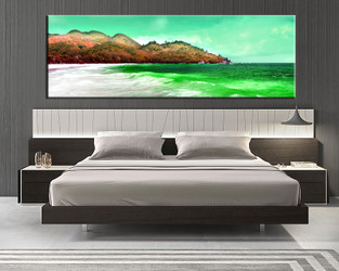 1 piece large pictures, bedroom canvas wall art, beach decor, ocean green canvas photography, mountain huge pictures