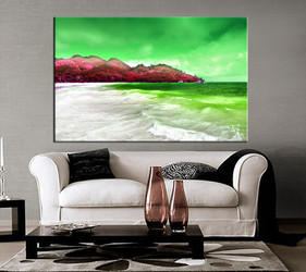 1 piece large pictures, living room decor, landscape large canvas, beach artwork, green large pictures