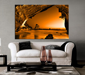 living room art, 1 piece canvas wall art, mountain decor, brown ocean artwork, beach large canvas
