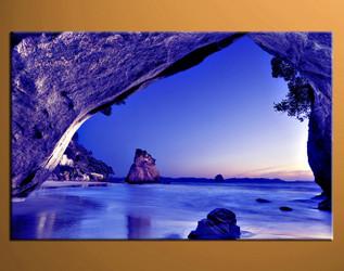 home decor,1 piece canvas art prints, blue ocean photo canvas, mountain canvas print,  ocean large canvas