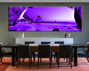 dining room wall decor, 1 Piece Wall Art, ocean multi panel art, purple ocean photo canvas, mountain artwork