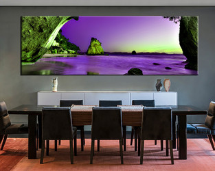 1 piece large canvas, dining room wall art, landscape pictures, purple ocean canvas photography
