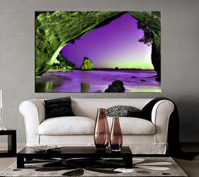 1 piece wall art, living room large canvas, ocean purple huge pictures, landscape multi panel canvas