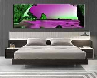 1 piece canvas art print, bedroom art, ocean multi panel art, landscape huge pictures, ocean purple artwork