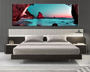 bedroom wall art, 1 piece multi panel art, green ocean wall art, ocean artwork, mountain artwork