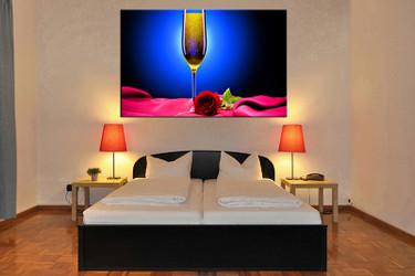 1 piece canvas art print, bedroom art, wine multi panel art, wine blue huge pictures