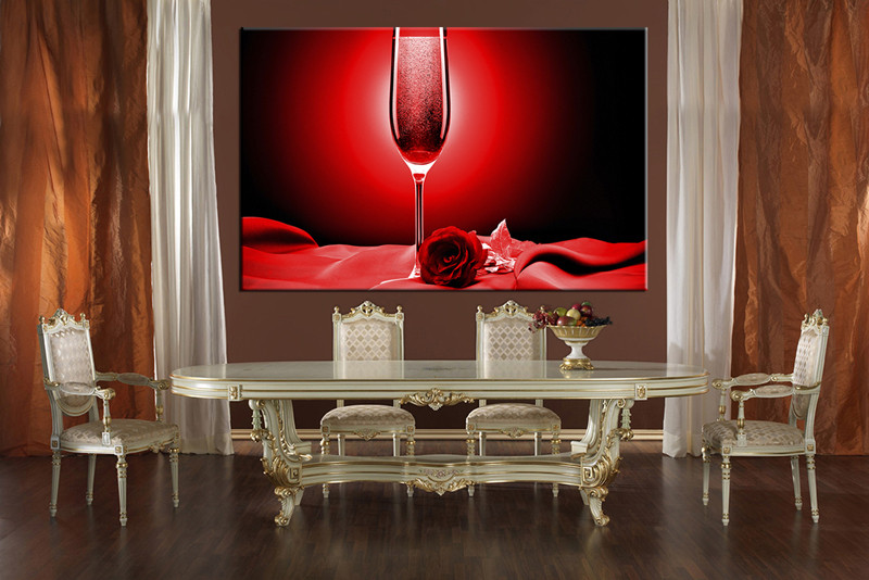 1 Piece Red Huge Canvas Art Rose Wine Decor