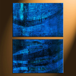 home decor, 2 piece canvas print, blue abstract wall art, abstract canvas photography, abstract huge pictures
