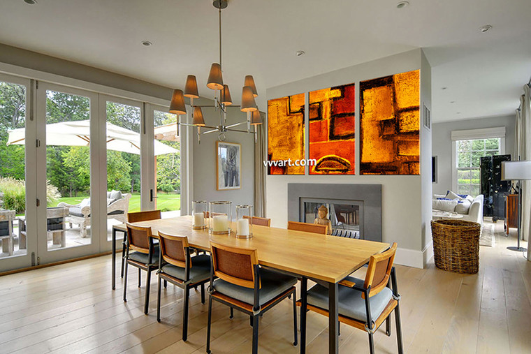 3 piece large pictures, dining room wall decor, abstract group canvas, orange abstract artwork,