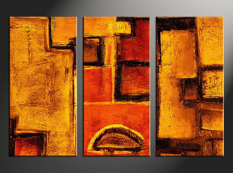 3 Piece Orange Abstract Multi Panel Art