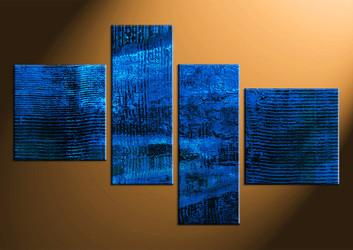 4 piece photo canvas, home decor artwork, abstract blue multi panel canvas, abstract canvas photography