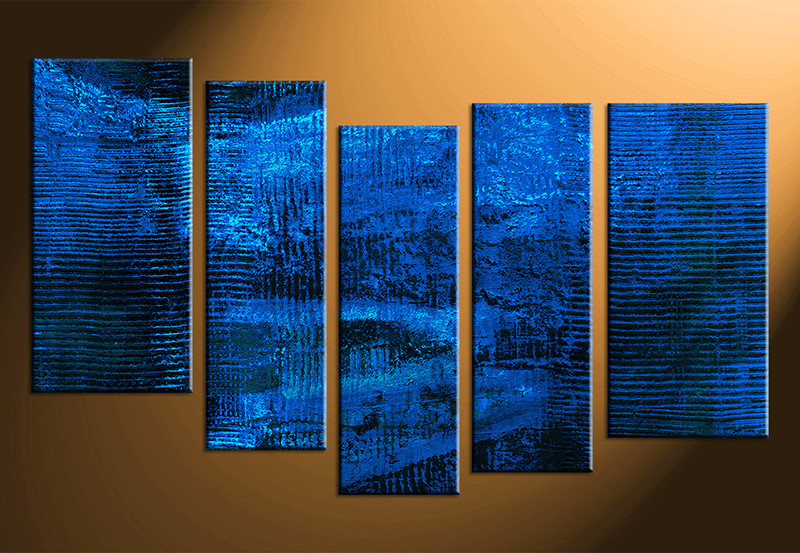 5 Piece Blue Abstract Canvas Wall Art Contemporary Canvas Prints