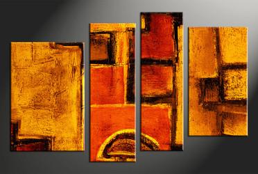 Home Wall Decor, 4 piece canvas art prints, abstract multi panel canvas, abstract wall art, orange canvas wall art