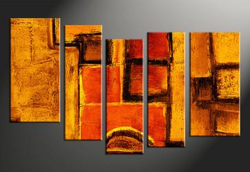 Home Wall Décor, 5 piece canvas art prints, orange abstract canvas print, abstract artwork, abstract photo canvas