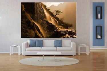 living room art, 1 piece canvas wall art, landscape decor, mountain artwork, landscape large canvas
