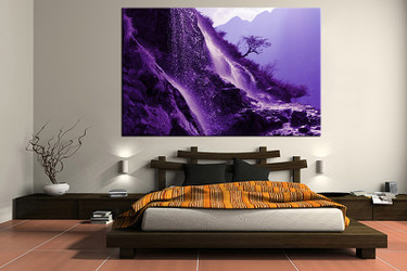 1 piece canvas wall art, bedroom art print, landscape large canvas, purple mountain multi panel canvas, landscape art