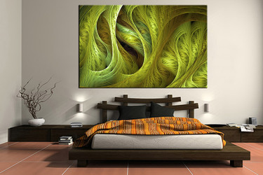 1 piece canvas art print, bedroom art, abstract multi panel art, abstract green huge pictures