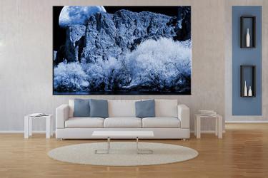 1 piece canvas wall art, living room huge canvas print, blue landscape photo canvas, landscape large pictures