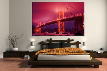 1 piece large pictures, city red art, bedroom multi panel art, city photo canvas, city artwork