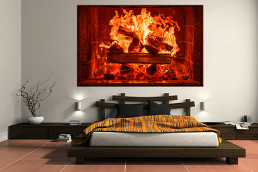 1 piece canvas wall art, bedroom huge canvas art, fireplace large pictures, red fireplace multi panel canvas