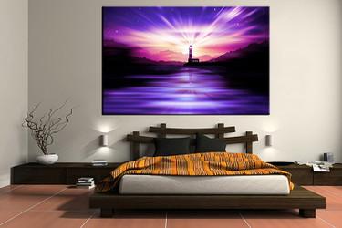 bedroom wall art, 1 piece multi panel art, blue city wall art, ocean artwork, city artwork